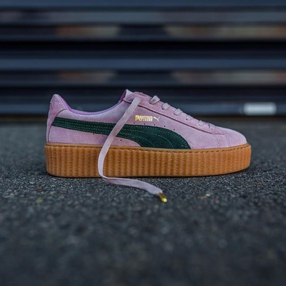 best service ce2fe b1662 9.5 Pink and Green Fenty Puma Creepers